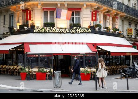 An empty terrace is seen at 'Le Champ de Mars' restaurant before the national lockdown introduced as part of the new COVID-19 measures to fight a second wave of the coronavirus disease, in Paris, France, October 29, 2020.   REUTERS/Charles Platiau - Stock Photo