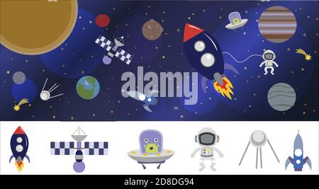 Cartoon space illustration with a rocket, astronaut, planets and aliens. Bright cute, children s vector drawing about spaceships, flying saucers and shuttles. Space with Saturn, Jupiter and stars. Illustration in blue purple and blue tones. Planets, rockets and stars. Cartoon spaceship icons. Kid s elements for scrap-booking. Childish background. - Stock Photo