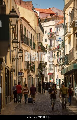 Narrow streets and beautiful architecture in the Alfama neighborhood of Lisbon, Portugal, Europe.
