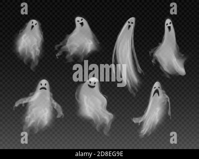Set of realistic vector fog ghosts. 3d smokes looking like night ghouls. Halloween illustration of scary poltergeist or phantom - Stock Photo