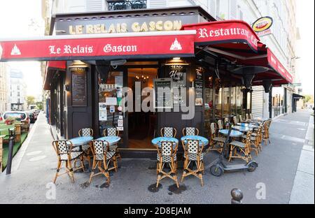 The traditional French restaurant Le Relais Gascon , Montmartre district of Paris, France.