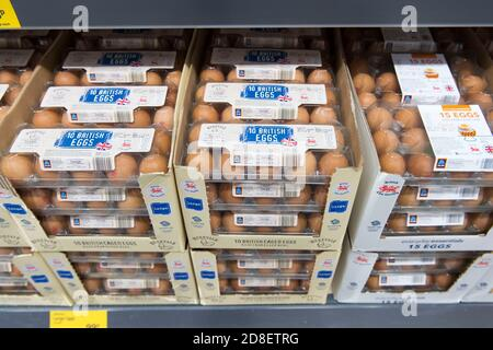 Boxes of eggs on sale in a supermarket store in Cardiff, Wales, United Kingdom.