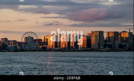 KAZAN, Russia-June, 2020: Panorama of the modern part of the city in the light of the setting sun