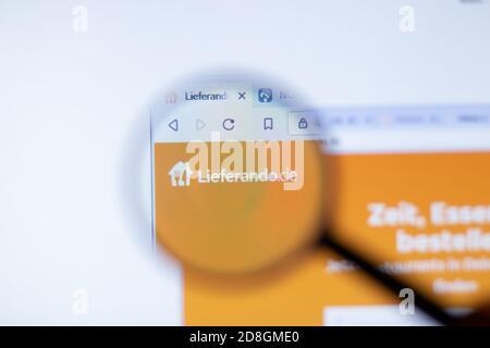 New York, USA - 29 September 2020: Lieferando lieferando.de company website with logo close up, Illustrative Editorial