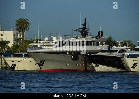 Fort Lauderdale FL, USA. 29th Oct, 2020. Yachts seen docked during the Fort Lauderdale International Boat Show at the Fort Lauderdale Marina on October 29, 2020 in Fort Lauderdale, Florida. Credit: Mpi04/Media Punch/Alamy Live News - Stock Photo