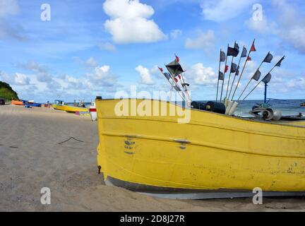 Traditonal fishing boat on the baltic sea coast near Rewal, Poland