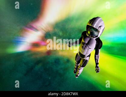 Astronaut in deep space, illustration - Stock Photo