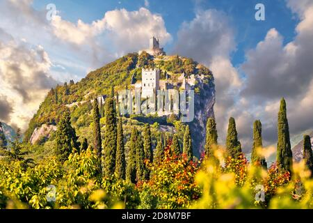 Arco castle ruins on cliffs above Garda lake, Trentino Alto Adige region of Italy