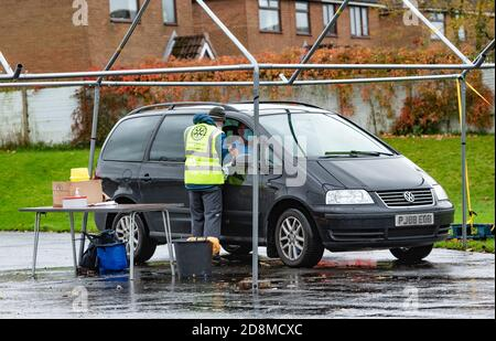 Longridge, Preston, Lancashire, UK. 31st Oct, 2020. The drive through NHS flu vaccine injection clinic at Longridge Civic Hall, Longridge, Preston, Lancashire. ItÕs considered the safest way to protect people from the flu during the pandemic. Credit: John Eveson/Alamy Live News - Stock Photo