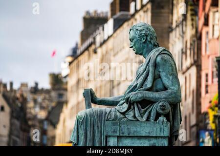 Statue of David Hume philosopher on Royal Mile in Edinburgh, Scotland, UK - Stock Photo