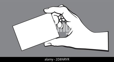 Blank card in hands. Vector Illustration and icon. - Stock Photo