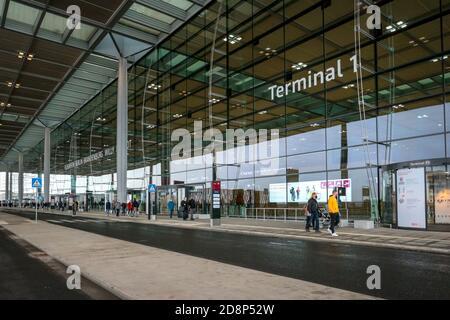 Exterior of Terminal 1 of newly opened Berlin Brandenburg International Airport (BER), or Flughafen Berlin Brandenburg Willy Brandt. - Stock Photo
