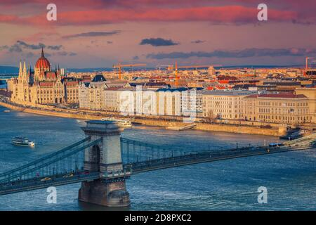 Amazing view from the Buda castle with Chain bridge over the Danube river and famous parliament building, Budapest, Hungary, Europe