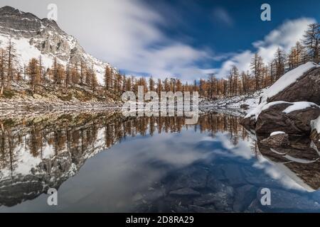 The black lake in Alpe Veglia and Devero natural park, Piedmont, Italy - Stock Photo