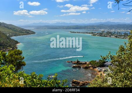 Aerial view of the Knysna Lagoon and Leisure Island in  Knsyna, Garden Route, South Africa