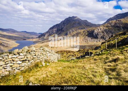 View to Tryfan west face and Ogwen Valley from lower slopes of Y Garn in mountains of Snowdonia National Park, Ogwen, Gwynedd, North Wales, UK