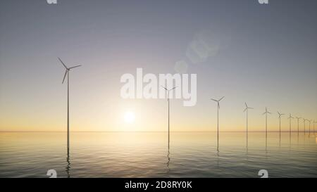 Modern 3d aerial view of wind generators at sea Construction industry 3d rendering