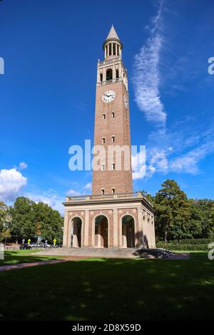 Chapel Hill, NC / USA - October 21, 2020: Bell tower on UNC Campus - Stock Photo