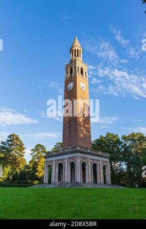 Chapel Hill, NC / USA - October 23, 2020: Bell tower on UNC Campus - Stock Photo