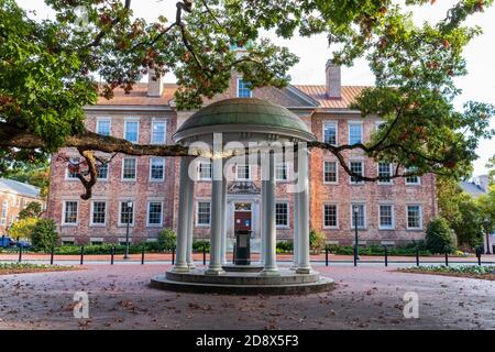Chapel Hill, NC / USA - October 22, 2020: The Old Well in front of the South Building on the campus of the University of North Carolina - Stock Photo