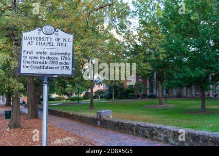 Chapel Hill, NC / USA - October 22, 2020: University of North Carolina at Chapel Hill, UNC,  historical marker, marking its open in 1795 - Stock Photo