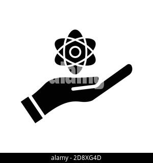 Scientist symbol. Hand with atom icon. Design template vector - Stock Photo
