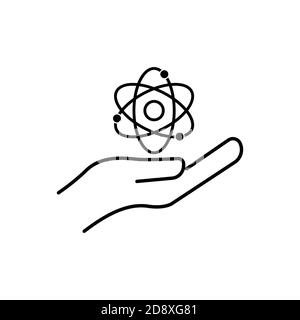 Scientist line symbol. Hand with atom line icon. Design template vector - Stock Photo