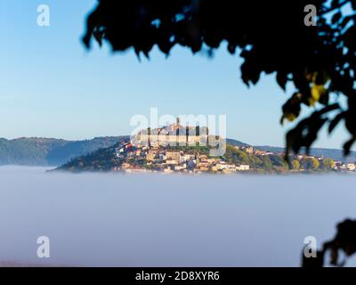 Like floating old town above thick fog stunning Motovun in Istria Croatia Europe tree branch leaves silhouetting blurry in foreground - Stock Photo