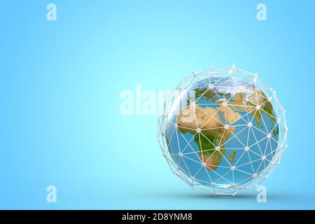 Network concept with Earth globe, high Speed, broadband mobile telecommunication, 5g or GPS 3d illustration