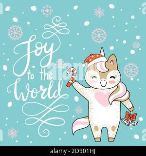 Vector Merry Christmas card with funny happy unicorn celebrating. Joy to the world calligraphy. Vector illustration isolated on turquoise background. - Stock Photo