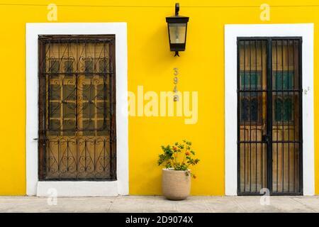 Colonial style facade of a house in Merida old city center , Merida, Yucatan, Mexico