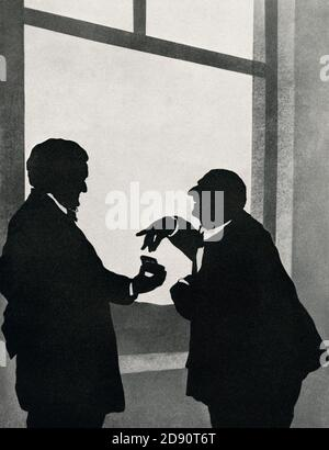 Richard Wagner, left, offers snuff to Anton Bruchner.  A paper cutting or silhouette by Otto Böhler the Austrian silhouette artist.  Wilhelm Richard Wagner, 1813 – 1883. German composer, theatre director, polemicist, and conductor.  Josef Anton Bruckner, 1824 – 1896. Austrian composer, organist, and music theorist.  From Anton Bruchner, 1824 - 1896, Sein Leben in Bildern (His Life in Pictures)