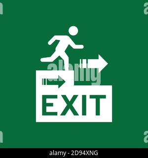 Illustration of vector graphic of signs for evacuation routes perfect for suitable to be a sticker to be posted on the wall so that it can be read dur Stock Photo