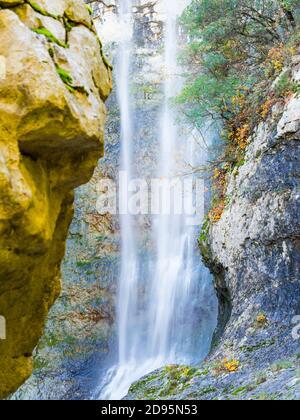 Big boulder rock balancing balance in Benkovski slap waterfall near Pican in Croatia Europe - Stock Photo