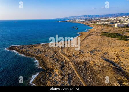 Aerial view of the Tomb of the Kings archaeological park, Paphos, Cyprus.