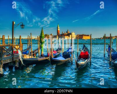 gondolas and San Giorgio Maggiore church, Venice, Italy.