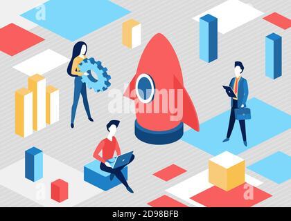 Isometric business start up concept vector illustration. 3d cartoon businessman businesswoman team in business project startup process, launching rocket, teamwork start of new technology background
