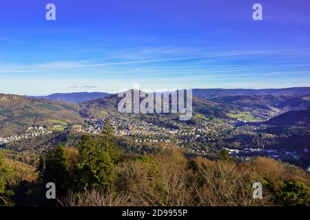 Overlooking the valley of Baden Baden with the Merkur mountain and Black Forest Baden-Baden Germany