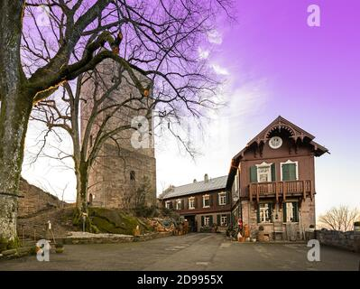 Overlooking the courtyard and the castle keep of the Yburg Baden Baden southern Germany