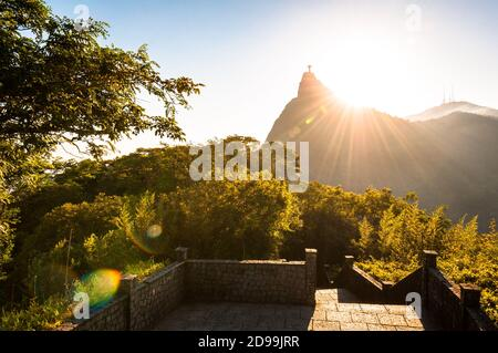 Beautiful Warm Sunset View in the Park With Corcovado Mountain in Rio de Janeiro - Stock Photo