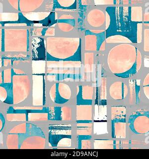 Contemporary art seamless pattern background. Abstract grunge geometric shapes. Watercolor hand drawn circles, rectangles, squares texture. Watercolou