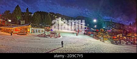 Night skiing panorama at Borovets Ski resort, near Samokov, Targovishte, Bulgaria.