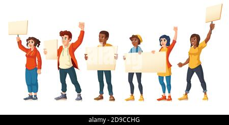 People strike, angry men and women with placards protest on rally demonstration. Characters holding blank banners fight for their rights, citizen protesting, riot, Cartoon vector illustration - Stock Photo