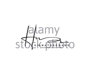 Letter HN Signature Logo Template Vector - Stock Photo