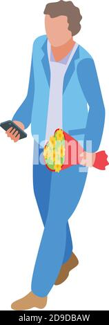 Online dating man with flower bouquet icon. Isometric of online dating man with flower bouquet vector icon for web design isolated on white background