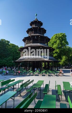geography / travel, Germany, Bavaria, Munich, beer garden and Chinese tower in the English garden, Mu, Additional-Rights-Clearance-Info-Not-Available - Stock Photo