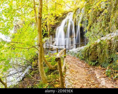 National park Plitvice lakes waterflow, Croatia