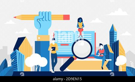 University, school or course education concept vector illustration. Cartoon students learning from home or classroom, reading open paper book, digital ebook in library, studying on lessons background - Stock Photo