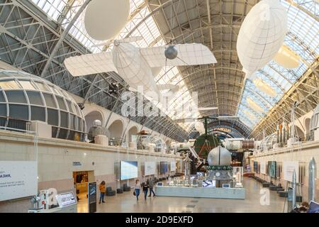 Moscow, Russia - November 28, 2018: Interior exhibition in the Space pavilion at VDNH. Modern museum of russian cosmos exploration - Stock Photo