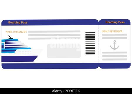 Kreuzfahrt Ticket  isoliert auf weißem Hintergrund - Stock Photo